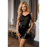 Clubwear Mesh & Wet Look V-shape Dress